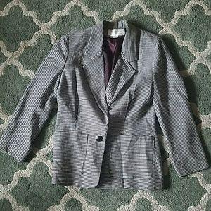 CHRISTIAN DIOR Black White Houndstooth Jacket Sz 8